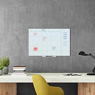 "U Brands 35"" x 23"" Frameless Floating Glass Dry Erase Calendar Board, , rollover"