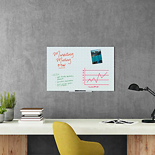 "U Brands 35"" x 23"" Frameless Floating Glass Ghost Grid Dry Erase Board, , rollover"