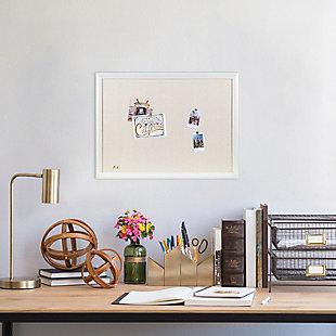 "U Brands 23"" x 17"" White Décor Framed Linen Bulletin Board, , rollover"