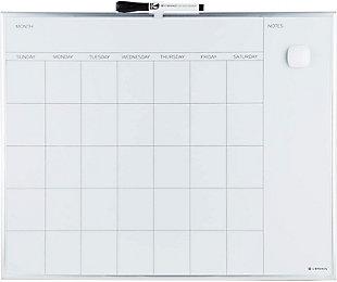 """U Brands 20"""" x 16"""" Silver Aluminum Framed Magnetic Dry Erase Calendar Board, , large"""