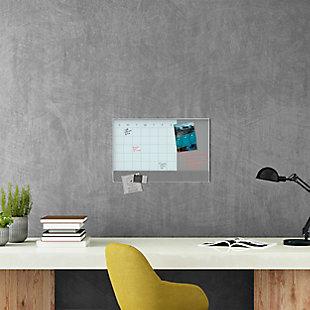 """U Brands 23"""" x 17"""" White Aluminum Framed 3N1 Magnetic Glass Dry Erase Calendar, , rollover"""