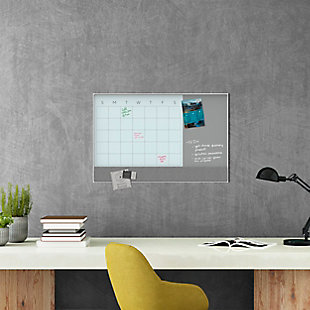 """U Brands 35"""" x 23"""" White Aluminum Framed 3N1 Magnetic Glass Dry Erase Calendar, , rollover"""