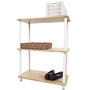 HDS Trading Pine Wood 3 Tier Rectangular Corner Shelf, , large