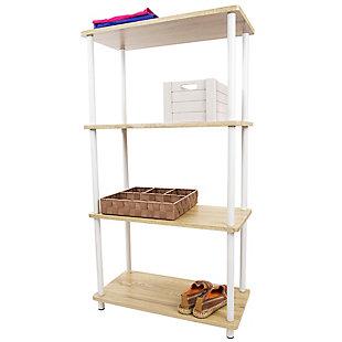 HDS Trading Pine Wood 4 Tier Rectangular Corner Shelf, , large