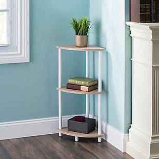 HDS Trading Pine Wood 3 Tier Arc Corner Shelf, , rollover