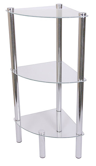 HDS Trading 3 Tier Multi Use Arc Glass Corner Shelf, , large