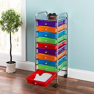 HDS Trading 10 Drawer Rolling Cart, , rollover
