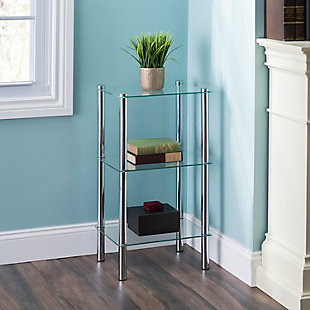 HDS Trading 3 Tier Multi Use Rectangle Glass Corner Shelf, , rollover