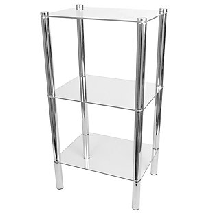 HDS Trading 3 Tier Multi Use Rectangle Glass Corner Shelf, , large