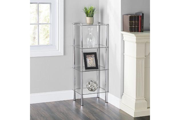HDS Trading 4 Tier Multi Use Rectangle Glass Corner Shelf, , large