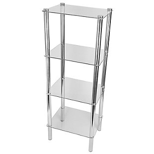 HDS Trading 4 Tier Multi Use Rectangle Glass Corner Shelf, , large