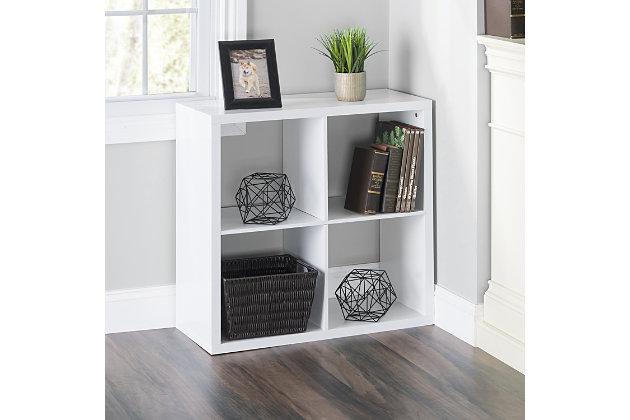 HDS Trading 4 Open Cube Organizing Wood Storage Shelf, , large