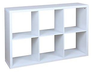 HDS Trading 6 Open Cube Organizing Wood Storage Shelf, , large