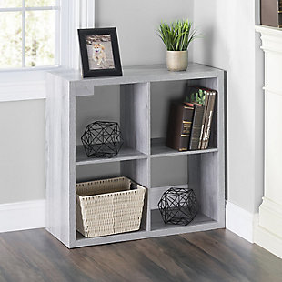 HDS Trading 4 Open Cube Organizing Wood Storage Shelf, , rollover