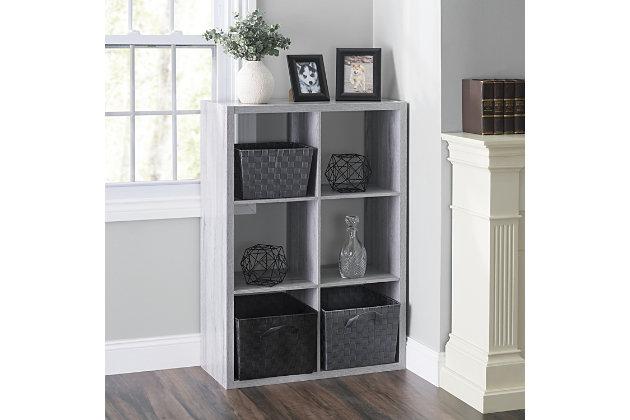 HDS Trading 6 Open Cube Organizing Wood Storage Shelf, , large