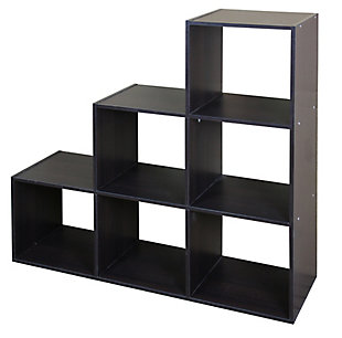 HDS Trading Stackable 6 Open Cube Modern Wood Organizer, , large