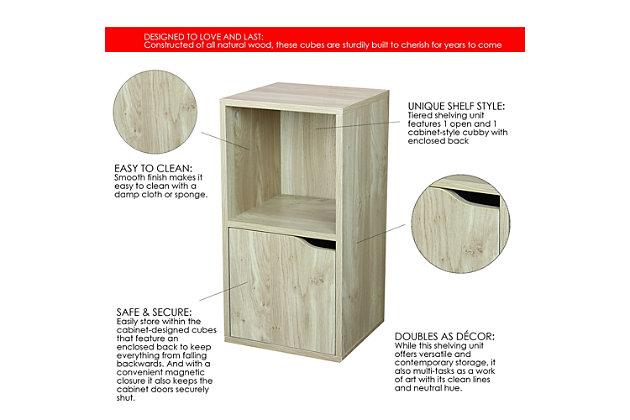 HDS Trading 2 Cube Wood Storage Shelf, , large