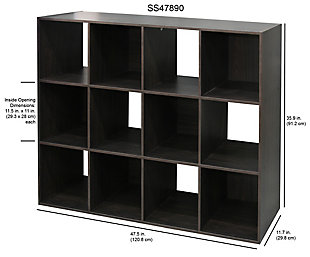 HDS Trading Stackable 12 Open Cube Modern Wood Organizer, , large
