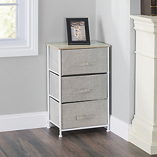 HDS Trading 3 Drawer Fabric Dresser Rolling Storage Cart, , rollover