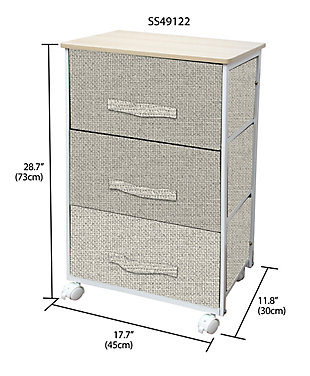 HDS Trading 3 Drawer Fabric Dresser Rolling Storage Cart, , large