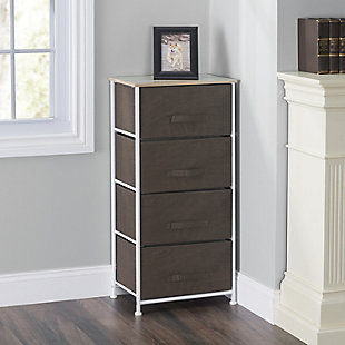 HDS Trading 4 Drawer Fabric Dresser Rolling Storage Cart, , rollover