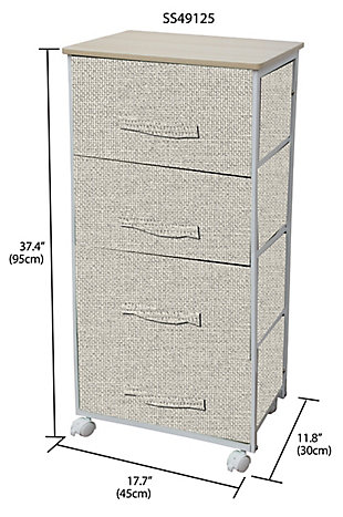 HDS Trading 4 Drawer Fabric Dresser Rolling Storage Cart, , large
