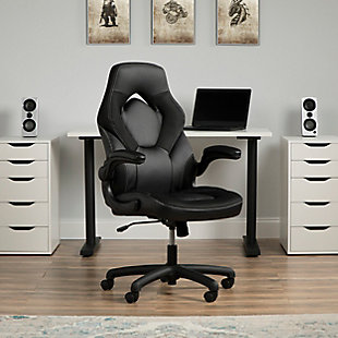 OFM Essentials Collection Racing Style Bonded Leather Gaming Chair, Black, rollover