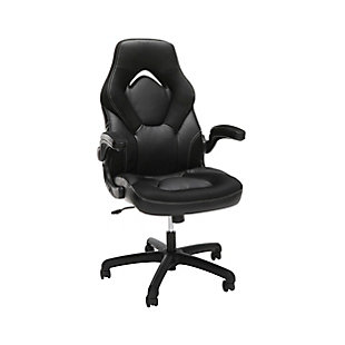 OFM Essentials Collection Racing Style Bonded Leather Gaming Chair, Black, large