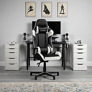RESPAWN 100 Racing Style Gaming Chair, White/Black, rollover