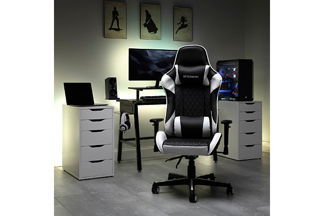 RESPAWN 100 Racing Style Gaming Chair, White/Black, large