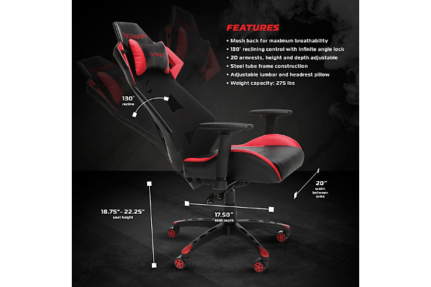 RESPAWN 200 Racing Style Gaming Chair, Red, large