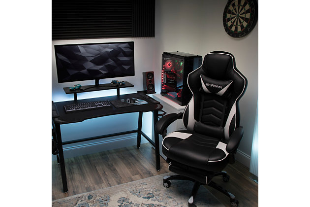 RESPAWN 110 Racing Style Gaming Chair with Footrest, White, large