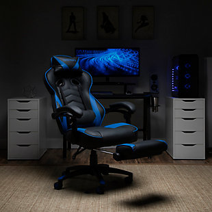 RESPAWN 110 Racing Style Gaming Chair with Footrest, Blue, large