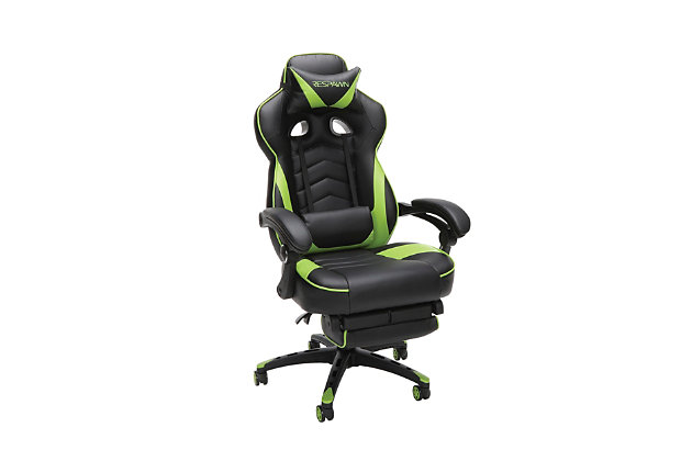RESPAWN 110 Racing Style Gaming Chair with Footrest, Green, large
