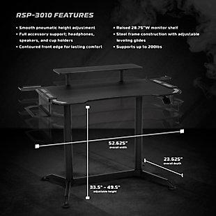 RESPAWN 3010 Adjustable Gaming Computer Desk, Gray/Black, large