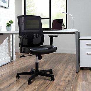 OFM Essentials Collection Mid Back Mesh Back with Leather Seat Office Chair, , rollover