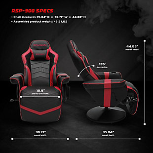 RESPAWN 900 Racing Style Gaming Recliner, Red, large