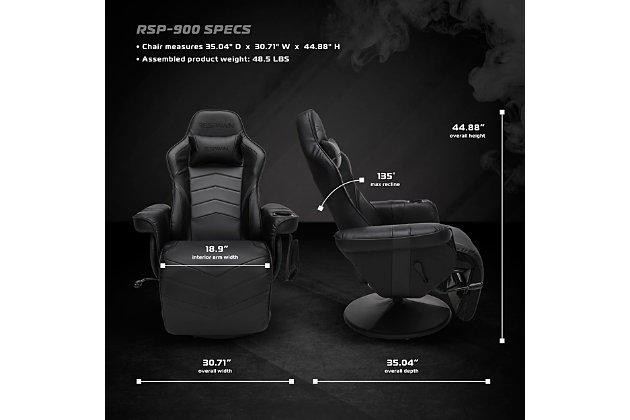 RESPAWN 900 Racing Style Gaming Recliner, Black, large