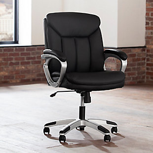 OFM Essentials Collection ESS-6020 Executive Office Chair, Black/Silver, rollover
