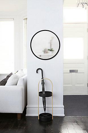 "Umbra Hub Black Rubber Framed 24"" Mirror, , rollover"