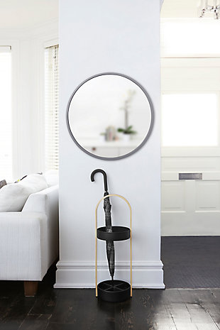 "Umbra Hub Gray Rubber Framed 24"" Mirror, , rollover"