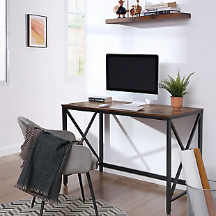Vasgale Industrial Iron Frame Computer Desk, , rollover