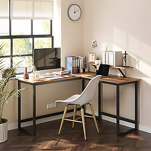Vasgale Alinru L-Shaped Corner Desk With Monitor Stand, , rollover