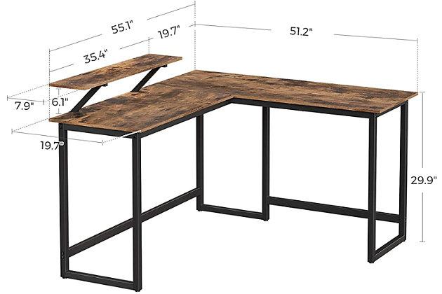 Vasgale Alinru L-Shaped Corner Desk With Monitor Stand, , large
