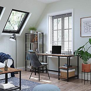 "Vasgale 47"" Industrial Laptop Desk with Storage Shelves, , rollover"