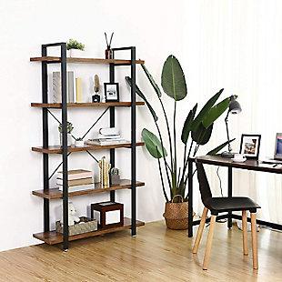 Vasgale 5-Tier Industrial Bookshelf, , rollover