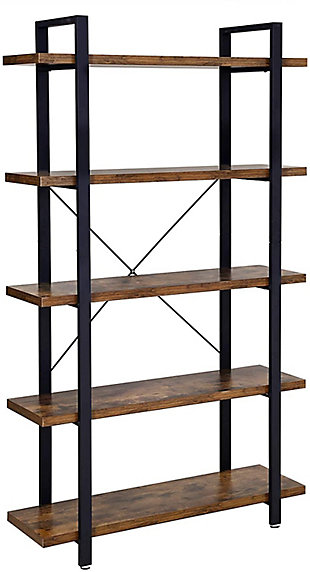Vasgale 5-Tier Industrial Bookshelf, , large