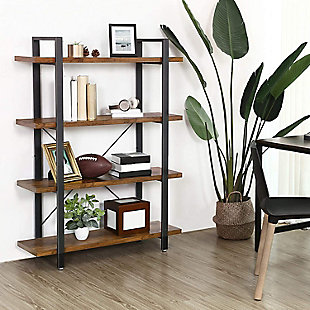 Vasgale 4-Tier Industrial Bookshelf, , rollover