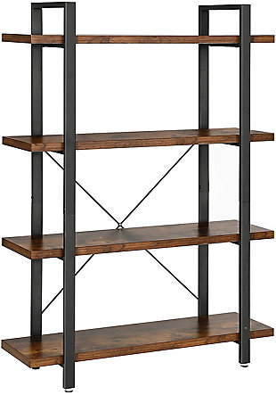 Vasgale 4-Tier Industrial Bookshelf, , large