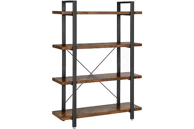 Vasgale 4-Tier Industrial Bookshelf, , large